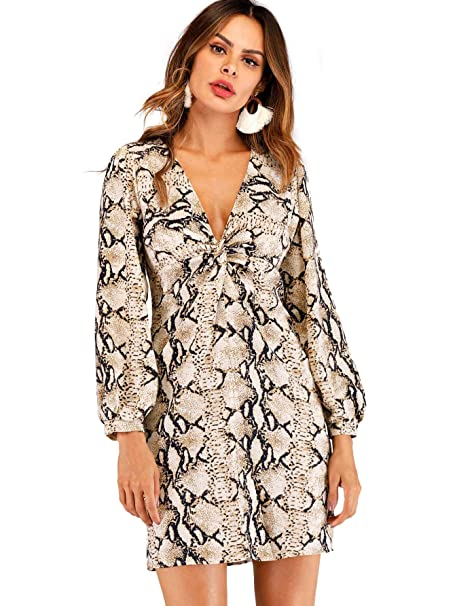50631f7e0f SheIn Women's V Neck Long Sleeve Front Twist Snake Print Party Short Dress  at Amazon Women's Clothing store: