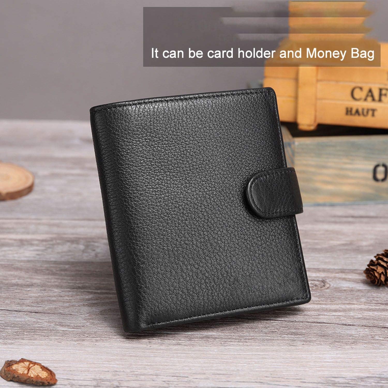 Leather Men Wallet Fashion Coin Purse Card Holder Wallets Male Clutch Purses for Money,Black