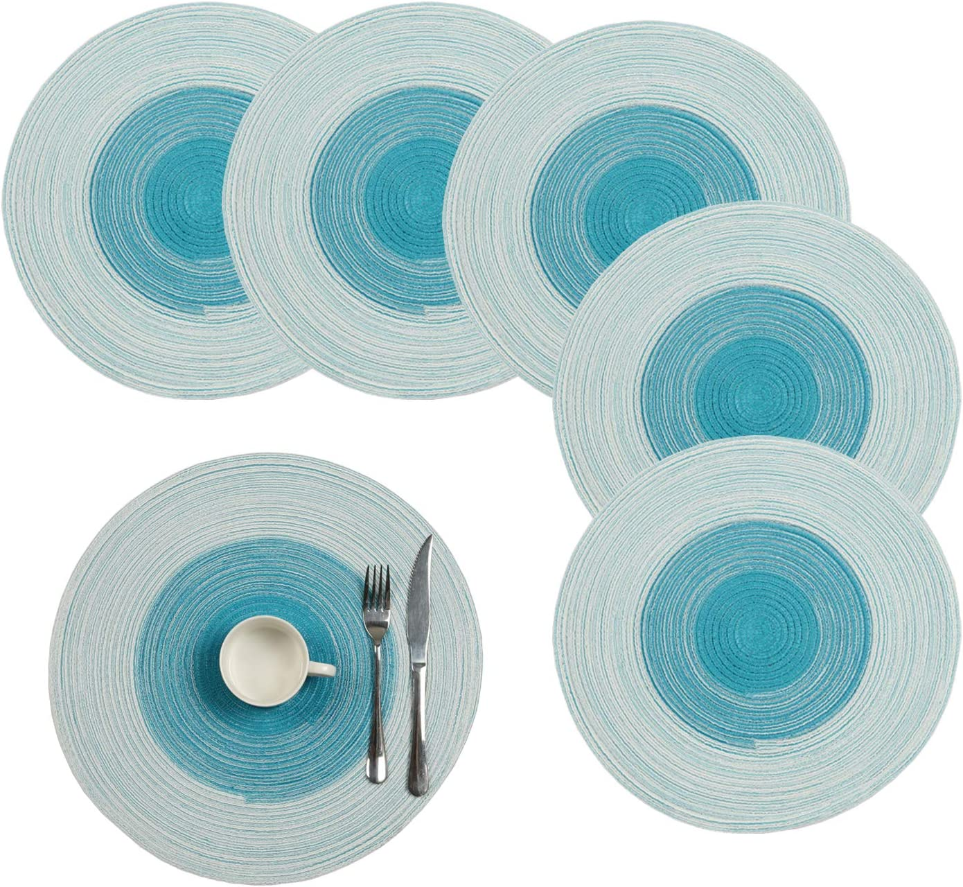 """Pauwer 15"""" Large Round Placemats Set of 6 for Kitchen Table Heat Resistant Non Slip Woven Round Table Placemats Washable (Set of 6, Ombre Blue)"""