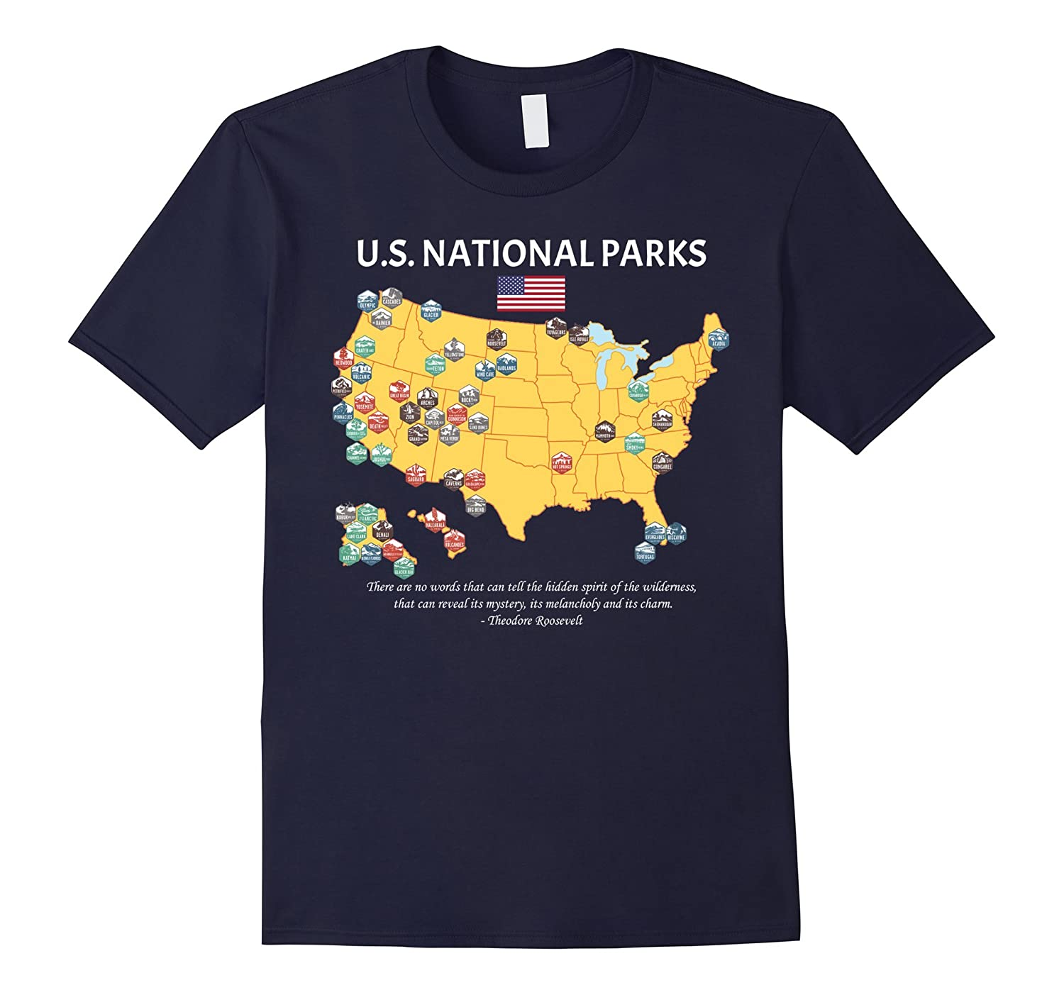 US National Parks | Fun Graphic American Map T-shirt-T-Shirt