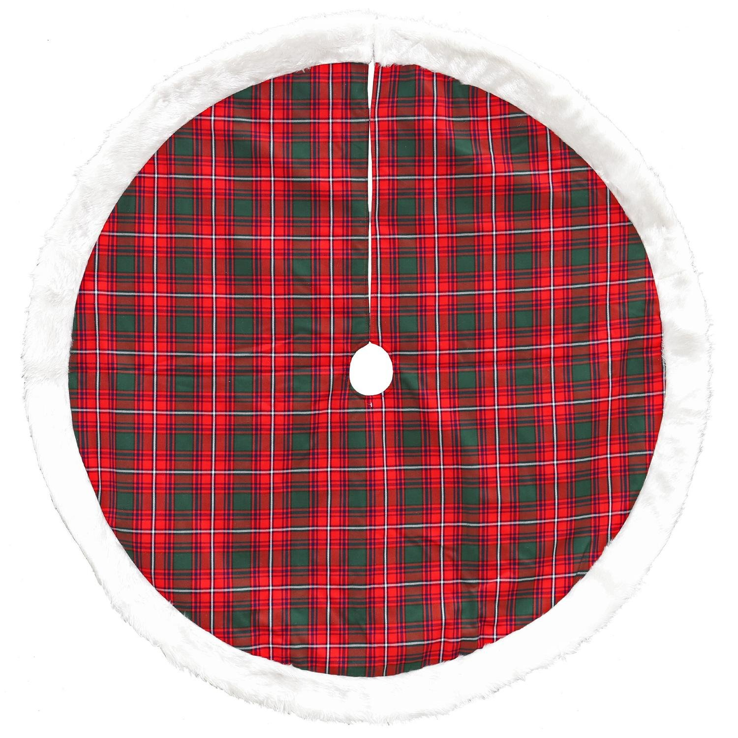 Dyno 48'' Red and Green Plaid Decorative Christmas Tree Skirt with Plush Border