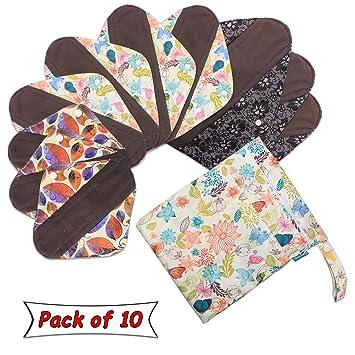 Compresas Reutilizable para Mujeres almohadillas de Menstrual (10 piezas)- de Teamoy: Amazon.es: Salud y cuidado personal