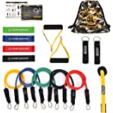 POWER GUIDANCE 16 pcs Resistance Bands Set, Stretch Training Set 5 Exercise Bands, Resistance Loop Bands, Handles, Door Anchor, Ankle Straps Carry Bag