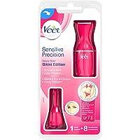 Veet Sensitive Precision Beauty Styler Bikini Edition, Präzisions-Trimmer für Gesicht und Körper, 1 Stück, inkl. 3 Silikon Schablonen
