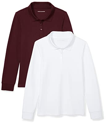 945314ea4 Amazon Essentials Toddler Girls' 2-Pack Long-Sleeve Interlock Polo Shirt,  Burgundy