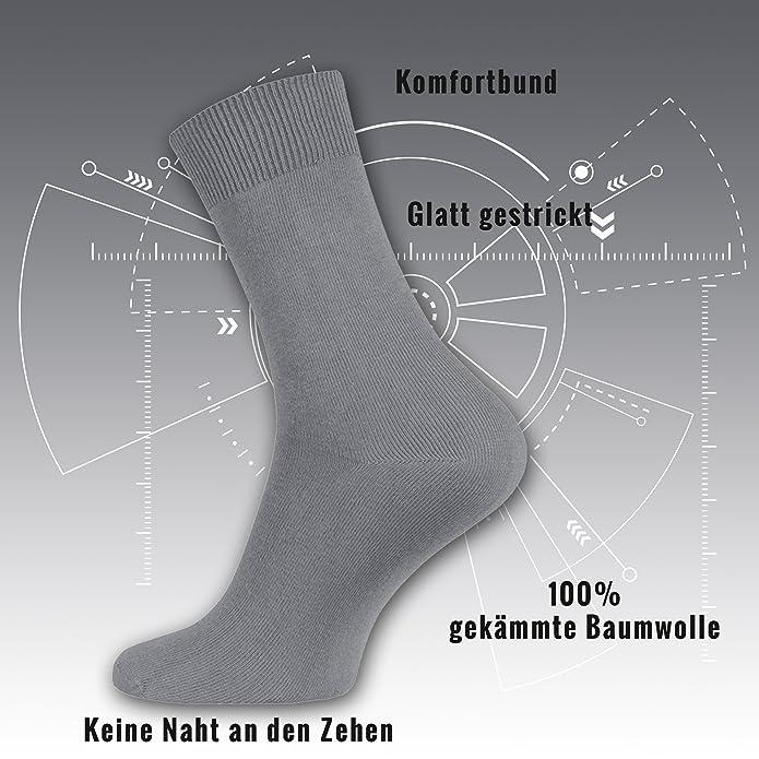 10 pares de calcetines para hombre 100% algodón peinado - calcetines de negocios y de ocio como una clasificación de color oscuro 7HMqQ9J