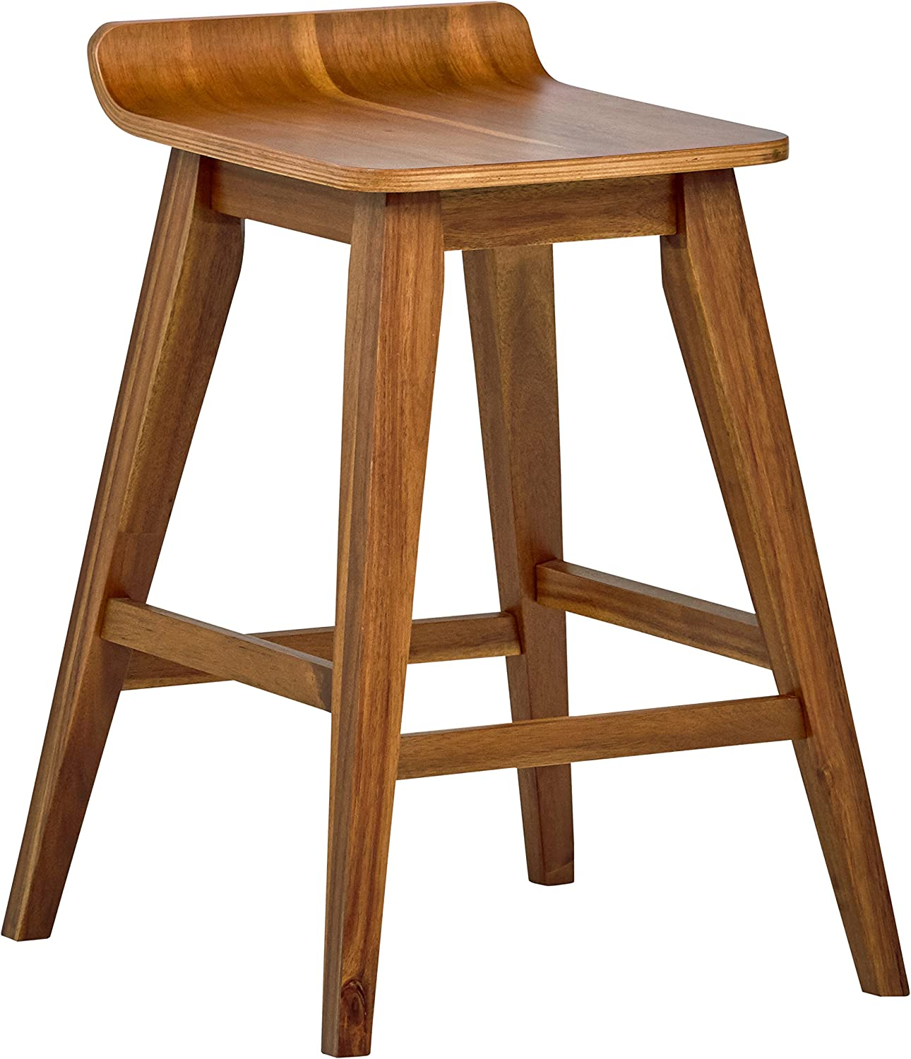 Stone Beam Fremont Rustic Kitchen Counter Saddle Farmhouse Bar Stool, 25.5 Inch Height, Natural Wood