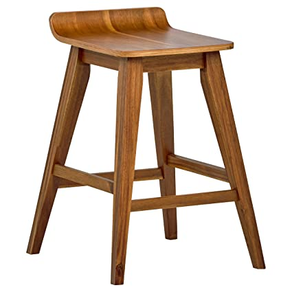 Rustic Wooden Stool Foot Stool Light Brown Upholstered Seat Slightly Distressed Handsome Appearance Furniture Home & Garden