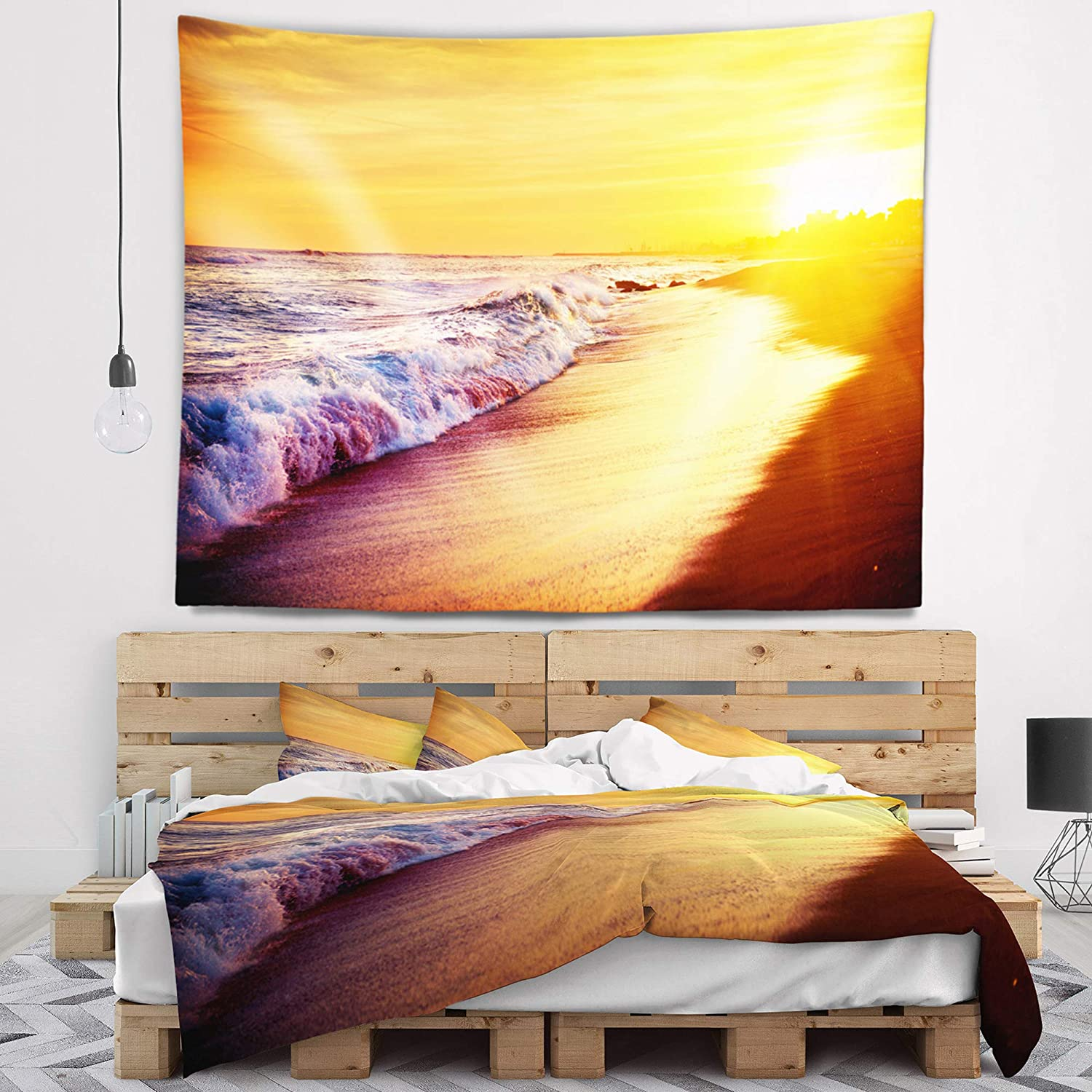 Created On Lightweight Polyester Fabric 80 in Designart TAP10388-80-68  Bright Yellow Sky with Foam Waves Seashore Blanket D/écor Art for Home and Office Wall Tapestry x Large x 68 in
