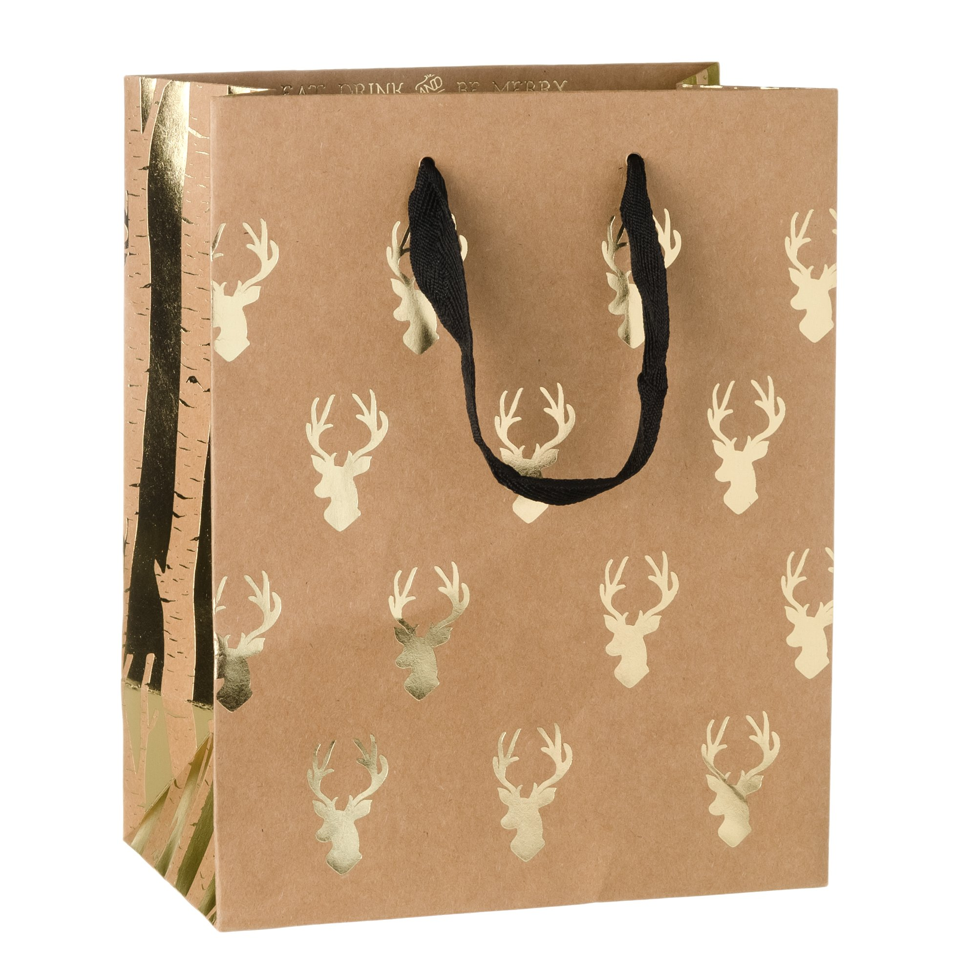 Creative Bag, Holiday Paper Shopping Bags, 8x4.5x10'', Kraftology - Gold Reindeer Birch, 100ct, Merchandise, Retail, Party, Boutique, Gift, Bulk, Notion, Christmas, Holiday
