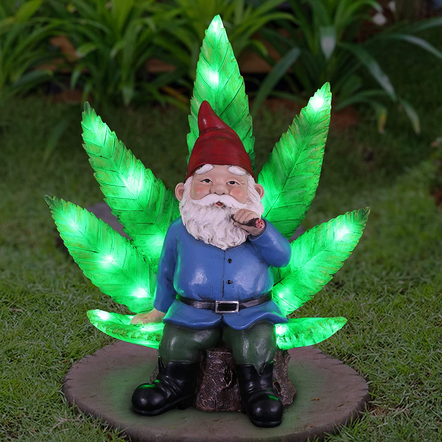 Exhart Good Time Ganja Throne Gnome Statue | Hand Painted Gnome Art w/Battery Powered LED Light | Weed Smoking Gnome for Indoor & Outdoor Décor for Home | 11 L x 6