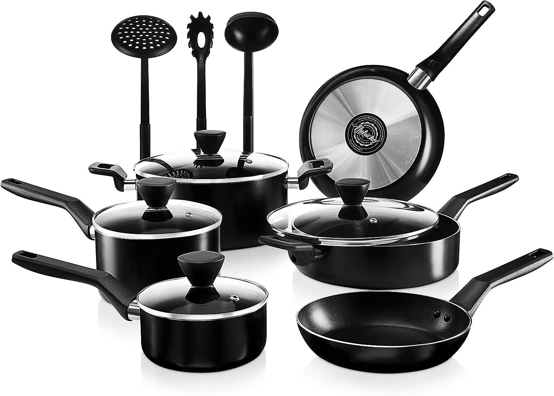 NutriChef 13-Piece Nonstick Cookware PTFE/PFOA/PFOS Free Heat Resistant Kitchen Ware Set w/Saucepan, Frying Pans, Cooking Pots, Casserole, Lids, Ladle, Fork, Strainer NCCWA13