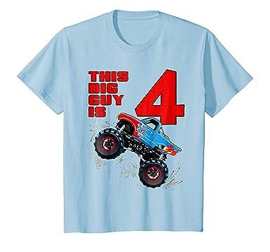 Kids 4th Birthday Monster Truck Gift T Shirt
