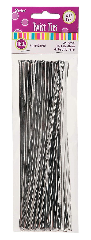 Darice 28-011 7-1//4-Inch Twist Ties Silver 150-Pack Value Pack