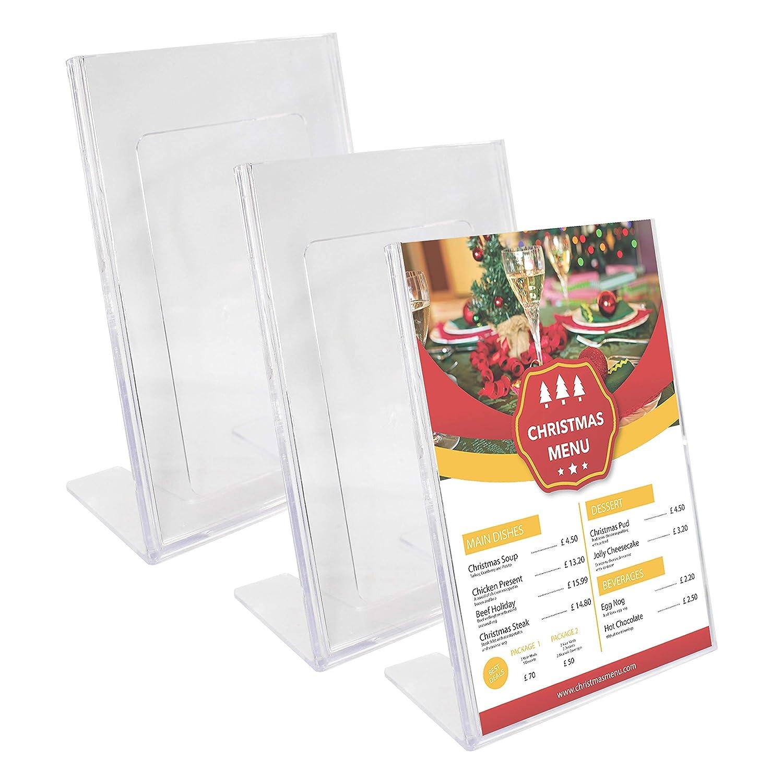 Kurtzy Confezione 3 Segna Tavolo Espositore Forma L Plexiglas Trasparente - Porta Cartello A 6 Obliqui Presentazione, Espositori Bancone, Supporti Brochure, Supporti Foto, Cartello Menù