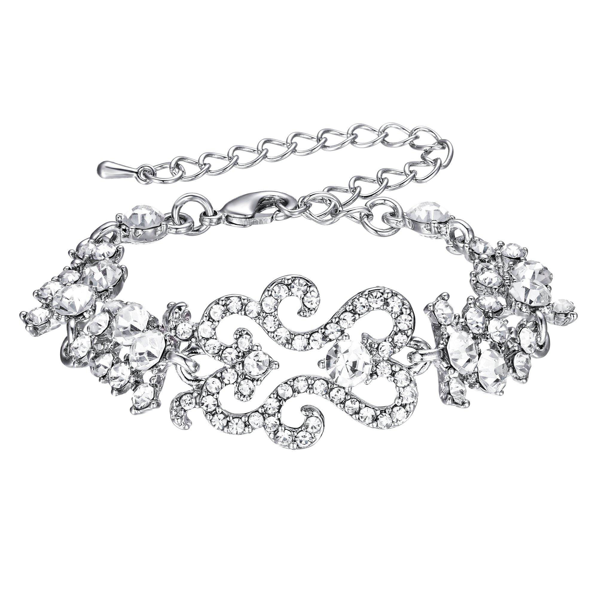 EVER FAITH Women's Crystal Bridal Flower Cluster Wave Adjustable Link Bracelet Clear Silver-Tone