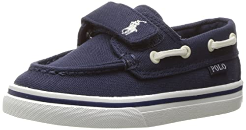 POLO RALPH LAUREN - Zapato de cuna azul de tejido, con cierre de velcro, correa decorativa blanca, Niño, Niños-33: Amazon.es: Zapatos y complementos