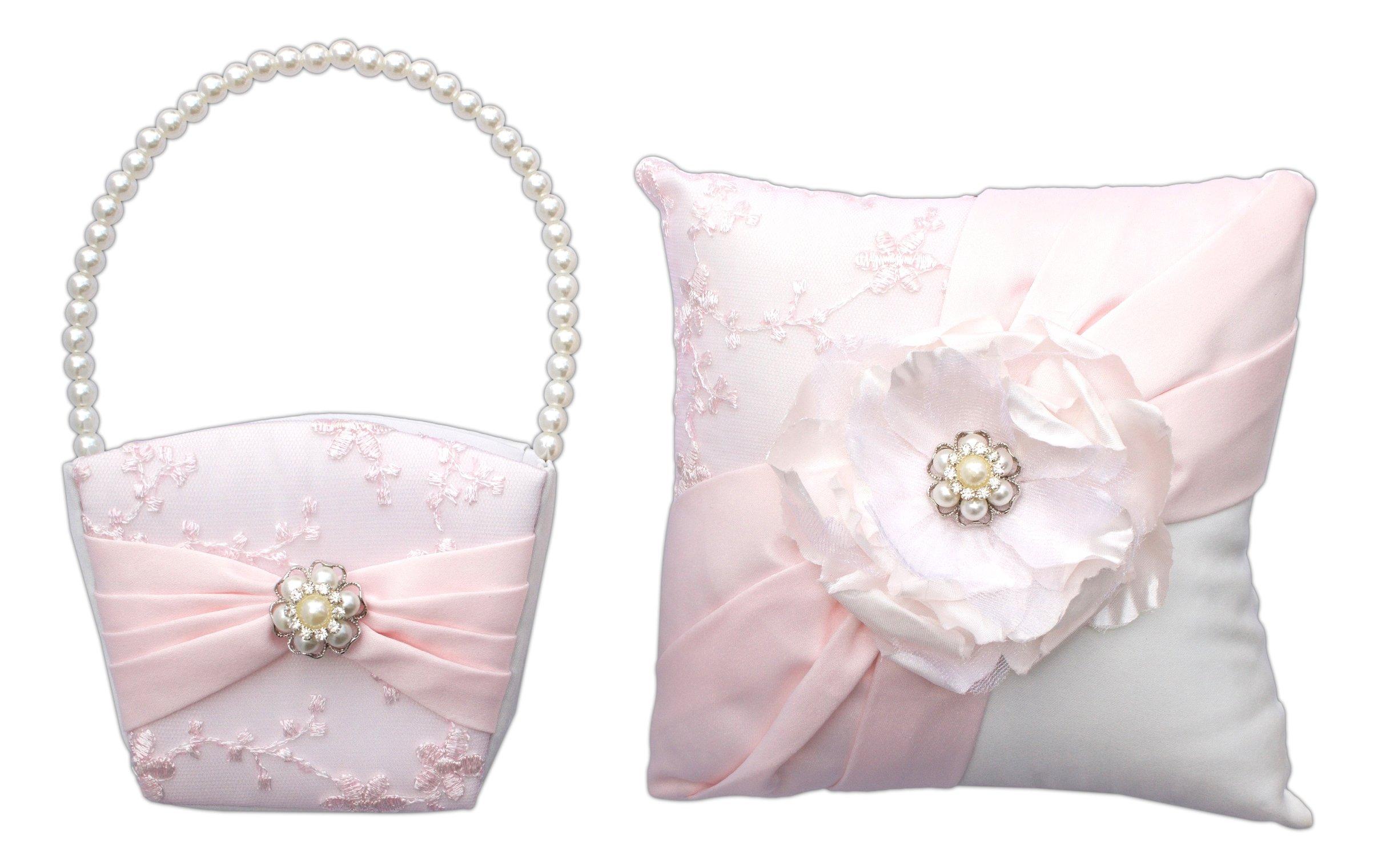 Bundle of Lillian Rose Ring Bearer Pillow and Flower Girl Basket (Blush Pink)