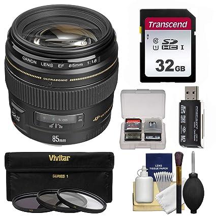 Canon EF 85 mm f/1,8 USM Lente con 3 filtros + 32 GB SD