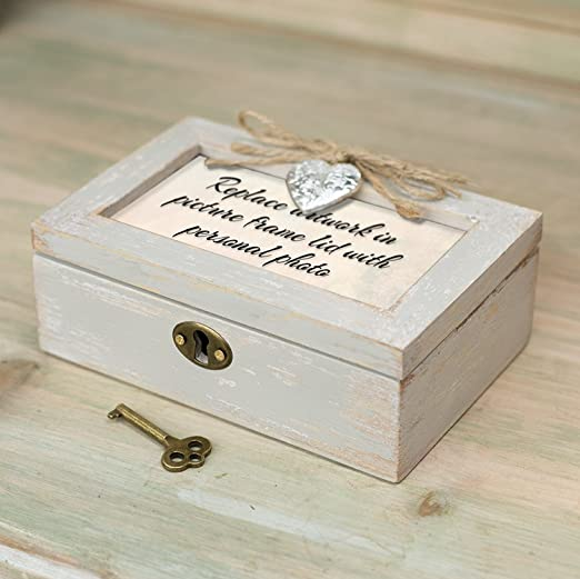 Mom Grateful for Love Distressed Wood Locket Jewelry Music Box Plays Tune Wind Beneath My Wings Cottage Garden LP7N