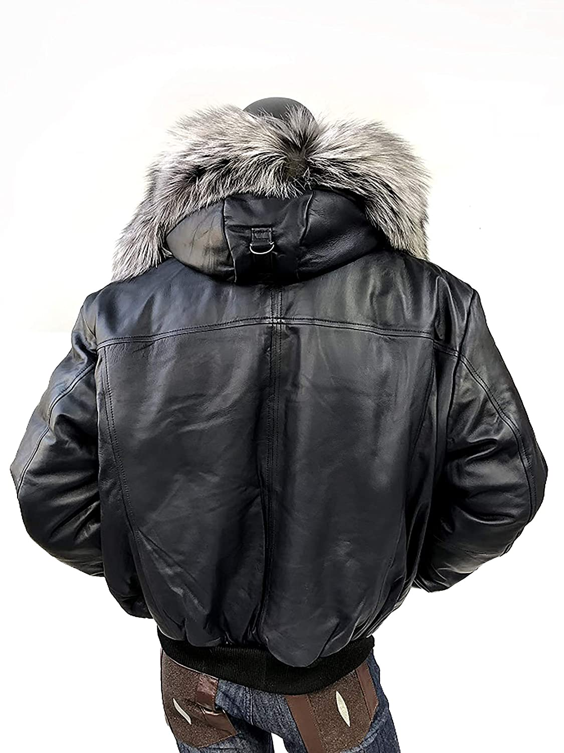 d1165e568 Men's Winter Warm Genuine Leather Bomber Jacket with Real Fur Hood Brown  Navy Black