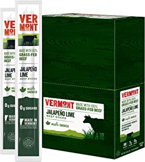 product image for Vermont Smoke & Cure - Grass Fed Beef Jerky Sticks - Antibiotic Free - Gluten Free - No Added Hormones - 80 Calorie Snack - Paleo & Keto Friendly - Jalapeno Lime - 1oz Stick - Pack of 24