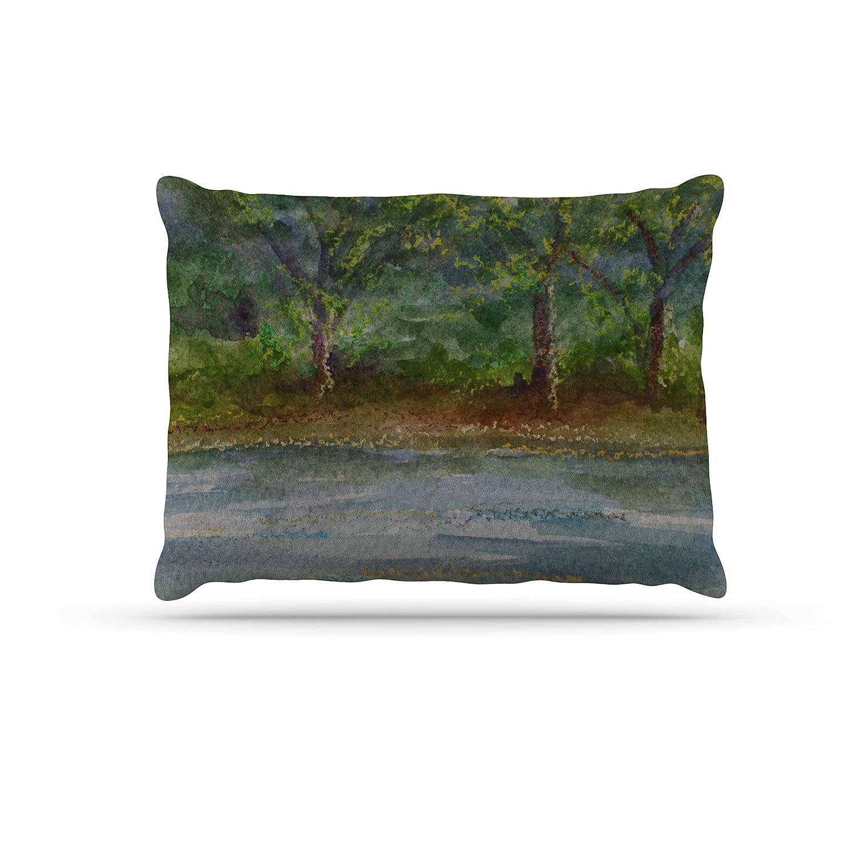 KESS InHouse Cyndi Steen Storm on The Pond bluee Green Dog Bed, 30  x 40