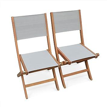 Chaises de Jardin en Bois et textilène - Almeria Gris Taupe ...