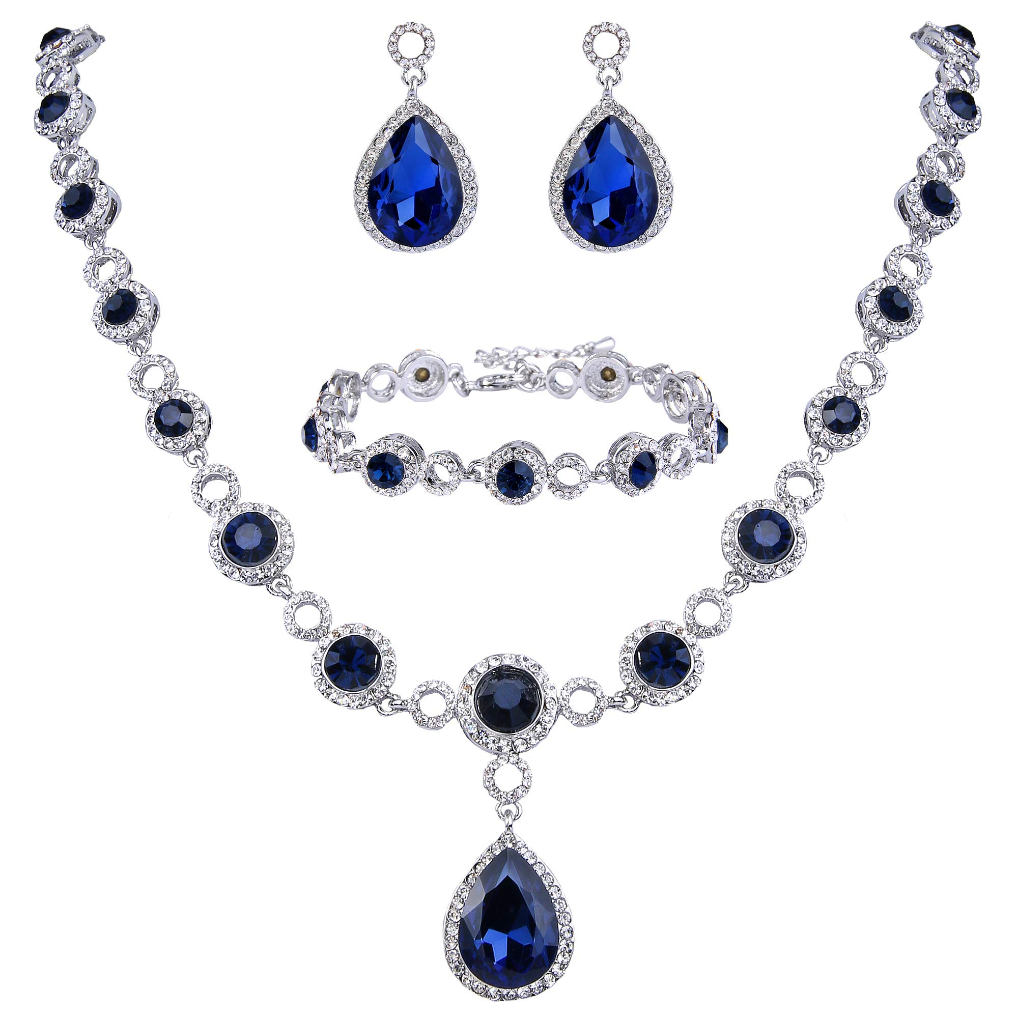 BriLove Wedding Bridal Necklace Bracelet Earrings Jewelry Set for Women Crystal Infinity Figure 8 Teardrop Y-Necklace Dangle Earrings Tennis Bracelet Set Navy Blue Sapphire Color Silver-Tone