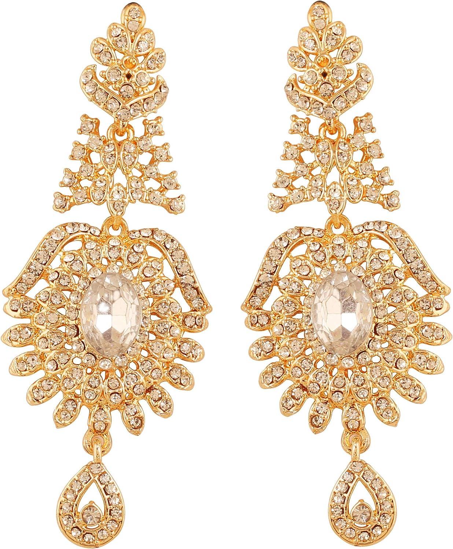 Touchstone India Bollywood curvado pescado austriaco cristales pendientes de joyería para mujeres
