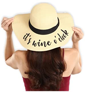 b3e2474b Women's Embroidered Floppy Beach Sun Hat - Wide Brim Summer Straw Hats -  Ideal for Travel