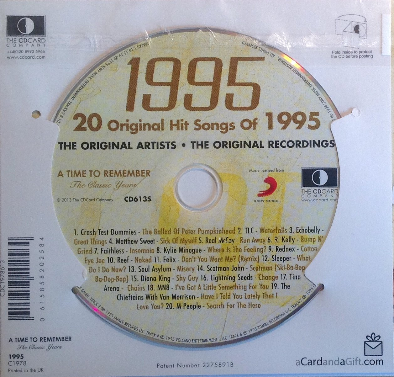 1995 Audio CD Compliation Hit Music of 1995 and Greeting Card in one; A Time to Remember The Classic Years