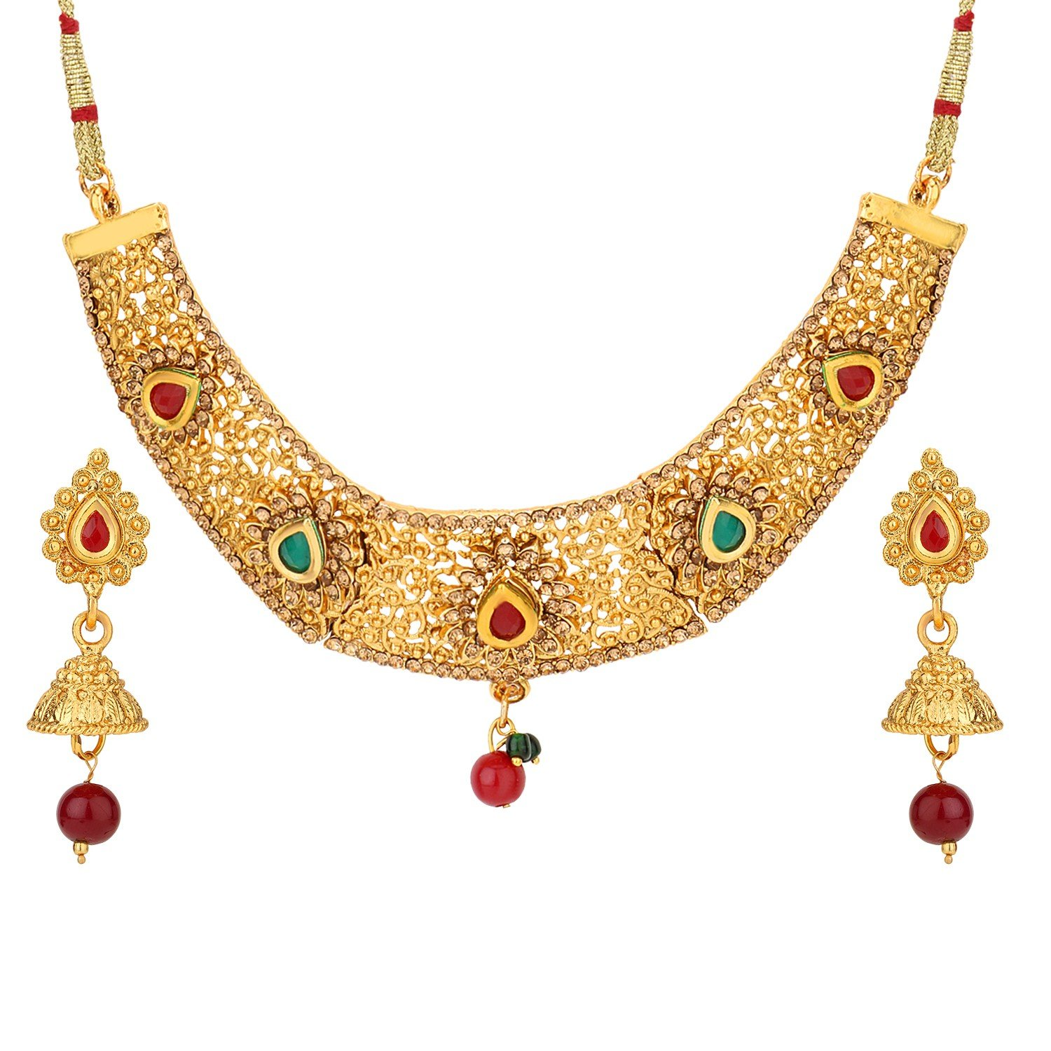 Efulgenz Indian Bollywood Traditional Red Green Rhinestone Faux Ruby Emerald Heavy Bridal Designer Jewelry Choker Necklace Set for Women and Girls Jaipur Art Jewellery MNT269