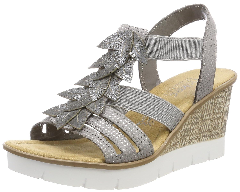 Rieker Damen 65505 Plateausandalen Grau (Grausilber)2018 Letztes Modell  Mode Schuhe Billig Online-Verkauf