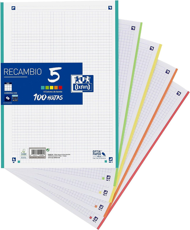 Oxford Classic - Recambio hojas sueltas (formato A4, 100 hojas, 5 colores de banda)