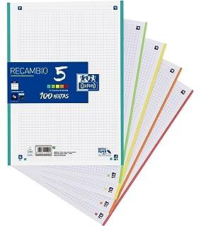 Oxford Classic - Recambio hojas sueltas (formato A4, 100 hojas, 5 colores de