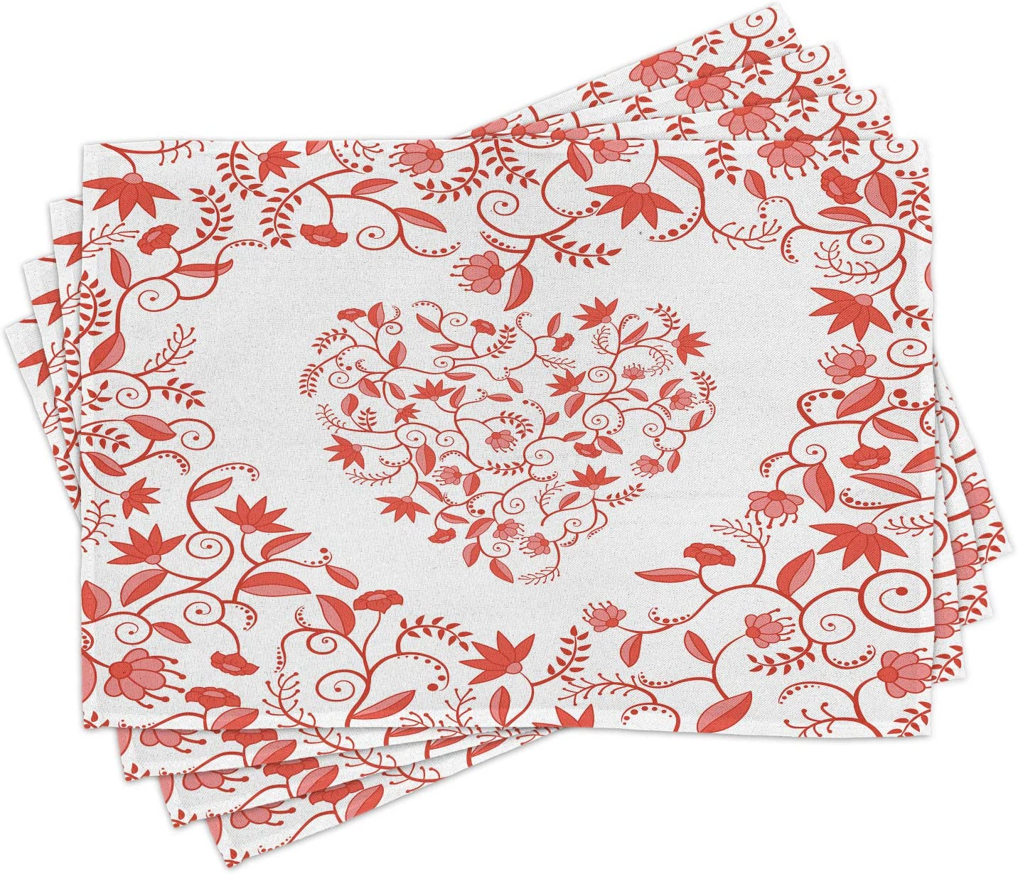 Ambesonne Valentines Day Place Mats Set of 4, Paisley Floral Details with Leaves and Roses in a Shape of Heart Frame Image, Washable Fabric Placemats for Dining Room Kitchen Table Decor, Red
