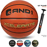 "AND1 Xcelerate Rubber Basketball (Inflated) OR (Deflated w/Pump Included): Official Regulation Size 7 (29.5"") Streetball, Made for Indoor and Outdoor Basketball Games"