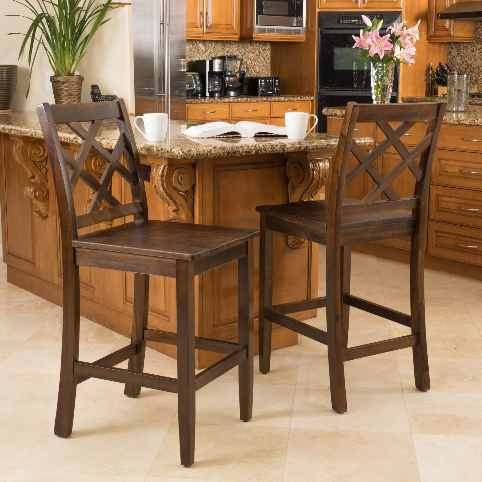 Scotsman Brown Wood Counter Stools (Set of 2)