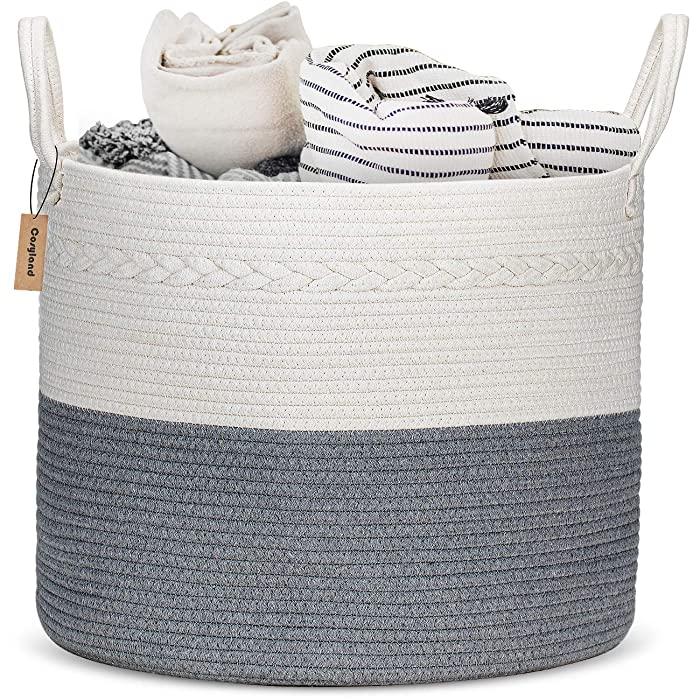 "COSYLAND Extra Large Woven Storage Basket 17""x 17""x15"" Cotton Rope Organizer Baby Laundry Baskets for Blanket Toys Towels Nursery Hamper Bin with Handle"