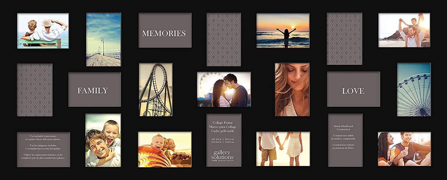 Amazon.com - Gallery Solutions Flat Black 21 Opening Collage Picture ...