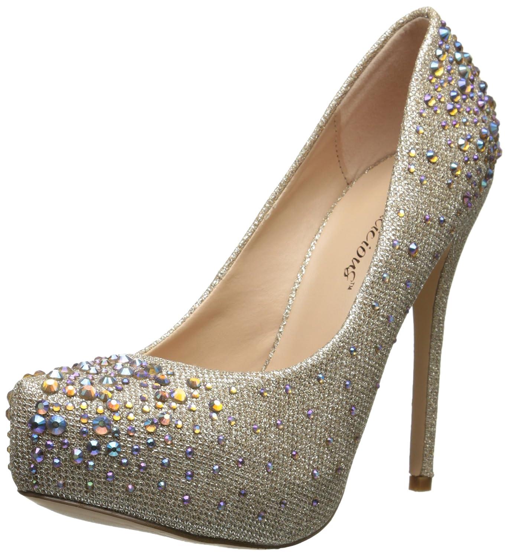 Pleaser Destiny 06R - Zapatos con tacón Mujer 38 EU|Nude Glitter Mesh Fabric