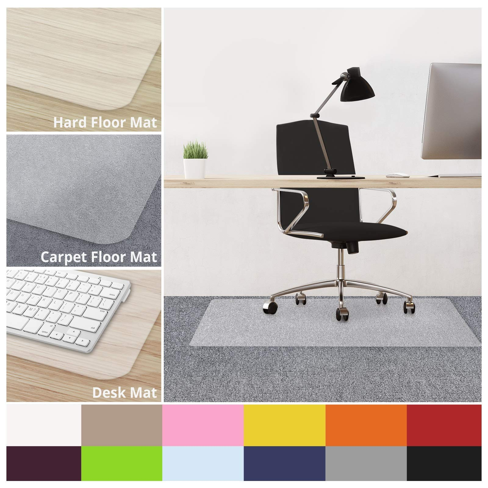 casa pura Office Chair Mats for Carpeted Floors - 30''x48'' | Carpet Protector Floor Mat, Transparent - BPA Free, Odorless