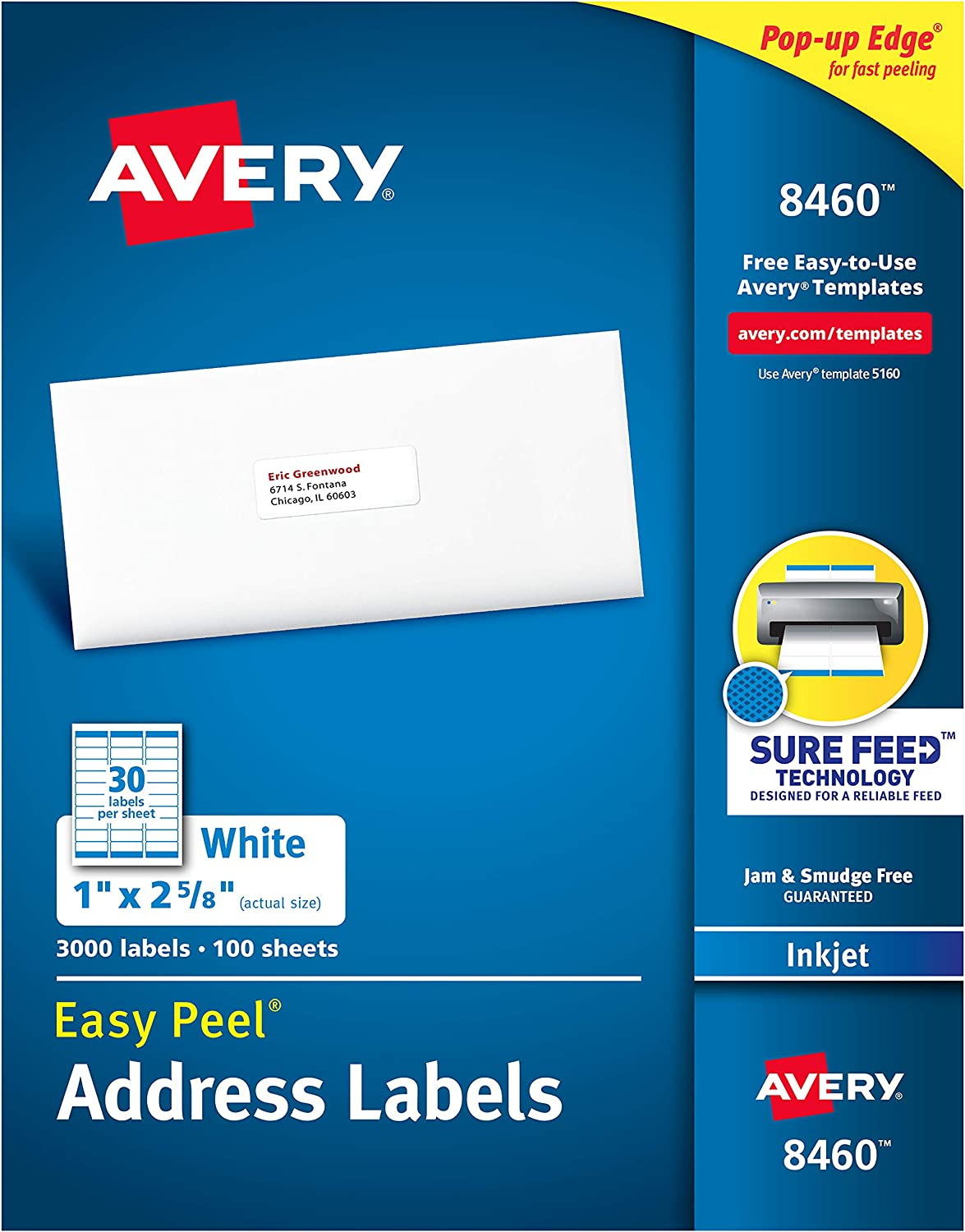"Avery Address Labels with Sure Feed for Inkjet Printers, 1"" x 2-5/8"", 3, 000 Labels, Permanent Adhesive (8460), White : Address Labels : Office Products"