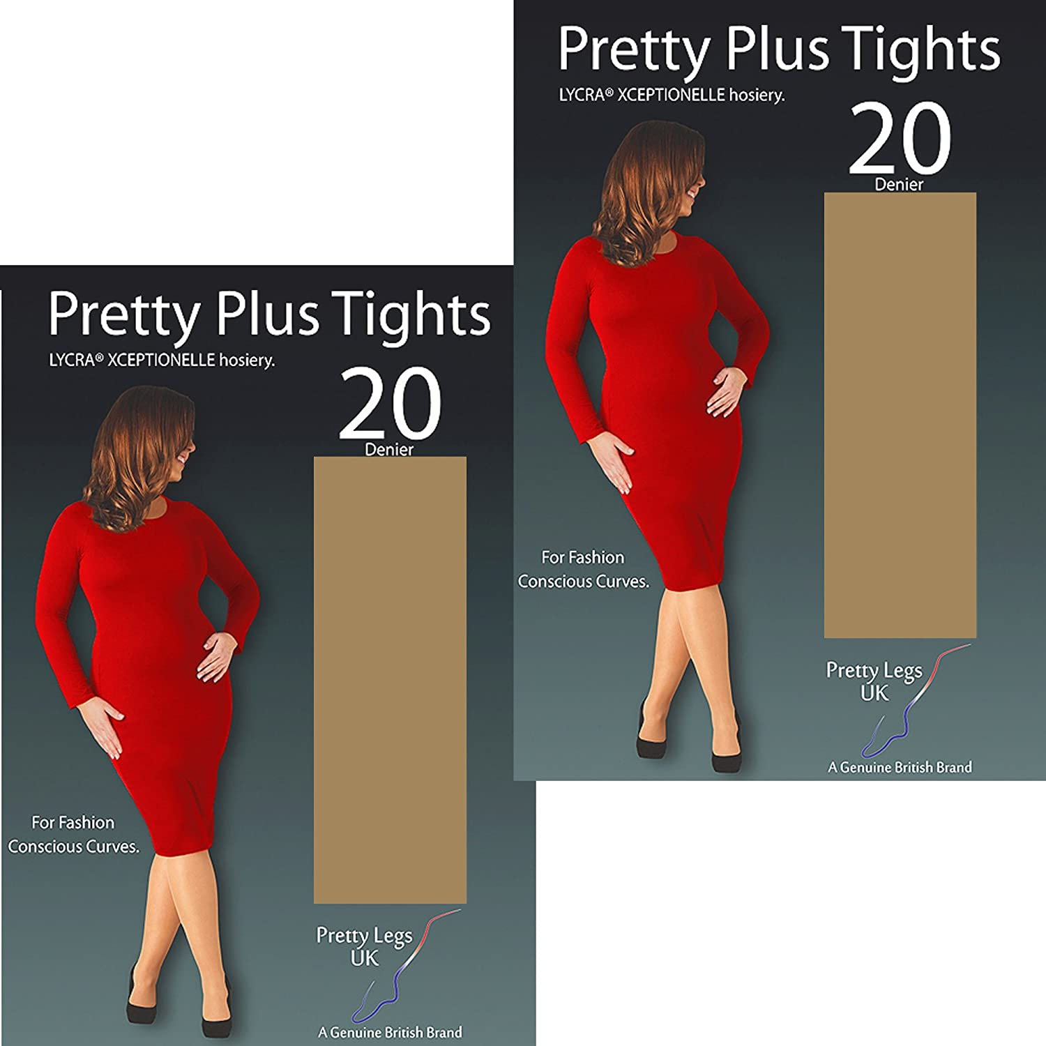 d6e405a8c57ab Pretty Legs Pretty Plus Xceptionelle Luxury 20 Denier Tights with Lycra (2  Pack) (XX-Large (54