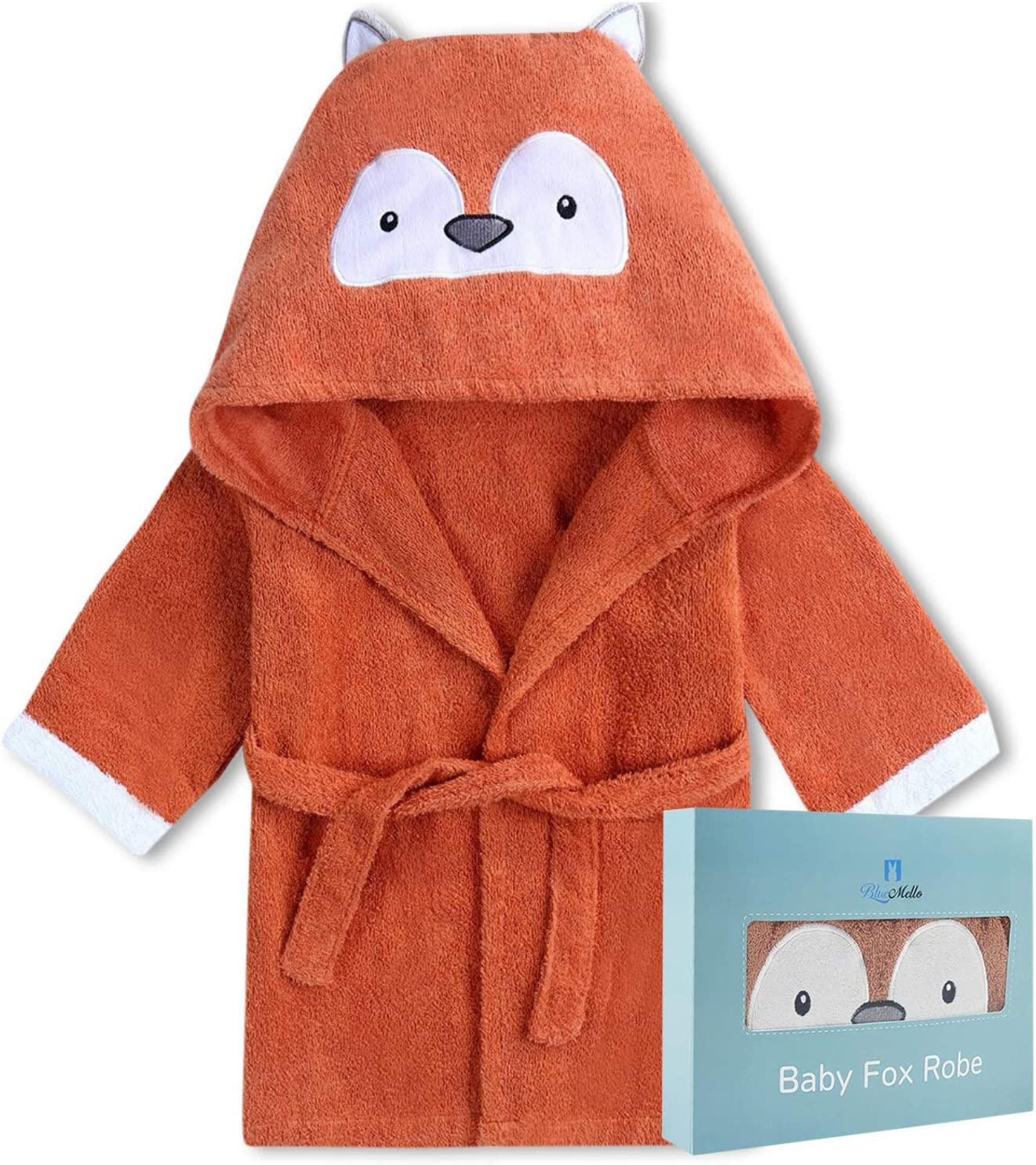 BlueMello Baby Fox Bathrobe | Ultra-Soft Hooded Robe for Toddlers 12-24 Months | Essential Bath Towel for Infants | Ideal for Baby Boy Accessories and Newborn Registry | Perfect Baby Girl Shower Gift