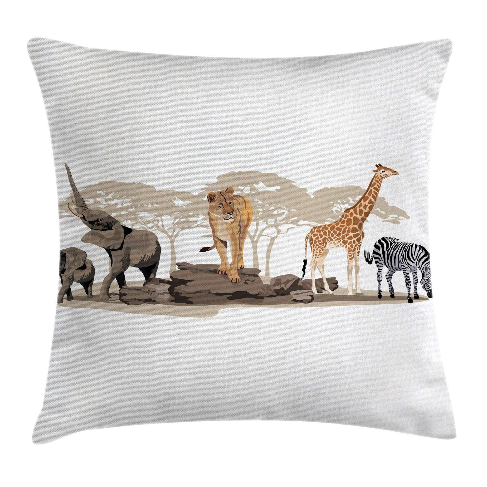Ambesonne Safari Throw Pillow Cushion Cover, Illustration of Wild Savannahs African Animals Exotic Giraffe Lion Elephant Zebra, Decorative Square Accent Pillow Case, 18 X 18 Inches, Multicolor