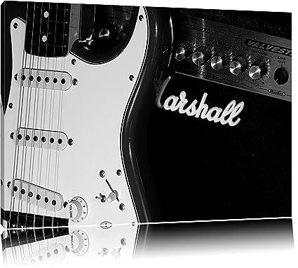 Guitarra eléctrica con amplificador Lienzo, XXL Fotos completamente enmarcado con grandes marcos de cuña,