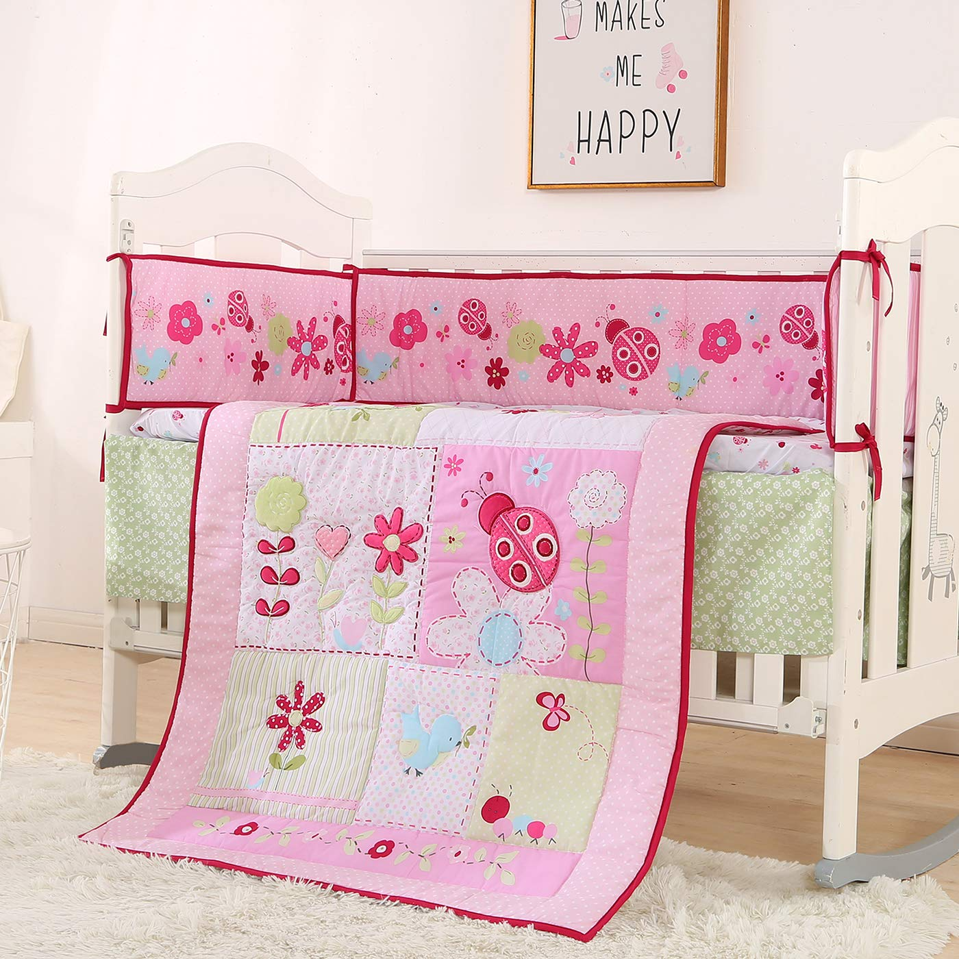 KINBEDY Pink Flower Crib Bedding Set 7 Piece Neutral Nursery Crib Set with Bumpers for Baby Girls and Boys (One Size, Pink Flowers)