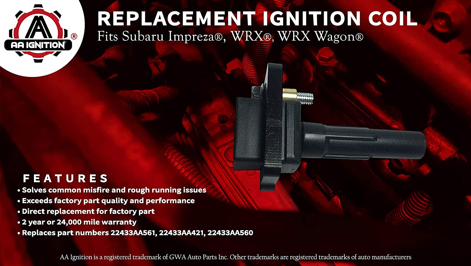 2004 Ignition Coil Pack Set of 4 Fits Subaru Impreza WRX WRX Wagon 2003 Replaces# 22433AA421-2002 2005 models